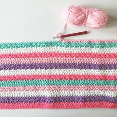 olivesandpickles I'm working on a secret little project. I'm loving these sweet colours my husband says they remind him of cupcakes. I'm over 1/3 complete this baby blanket thankfully I can share this on IG as long as I remember not to share this post to FB. Lol. Cosy Stripes Pattern by @attic24 Colour Pattern inspired by @lolliandbean Colours chosen by me . #cosystripe #cosystripeblanket #op_crochet