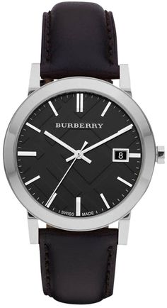 Burberry Men's The City Black Leather Silver Tone Stainless Steel Watch BU9009