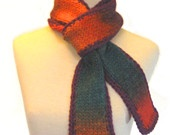 SUNSET Knitted Scarf Fall Fashion / Soft Wool / Teal Rust Orange Red Plum @EcoEtsy.com