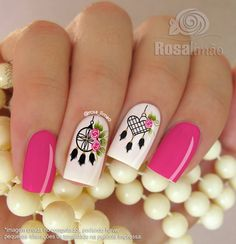Love the dream catcher Más Fancy Nails, Love Nails, Pink Nails, Pretty Nails, My Nails, Dream Catcher Nails, Manicure E Pedicure, Nail Decorations, Fabulous Nails