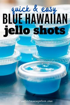 GREAT recipe for Blue Hawaiian jello shots with coconut rum! The pineapple juice, Malibu rum and blue curacao tastes great with the berry blue jello.