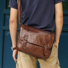 """Vintage Leather Messenger Bag / Satchel / 11"""" MacBook Air Bag"""