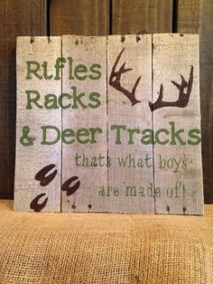 Rifles Rack & Deer Tracks Kid Sign Hunting by SamiJakesBoutique Baby Boys, Baby Boy Rooms, Cute Signs, Diy Signs, Pallet Crafts, Wood Crafts, Pallet Projects, Diy Crafts, Hunting Signs