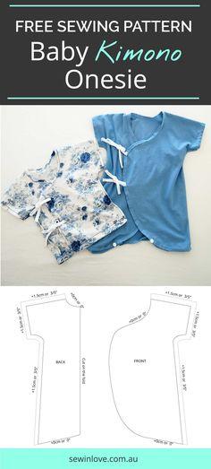 Freie Baby-Kimono-Strampler Schnittmuster & Tutorial |  Machen Sie diese niedlichen Baby Kimono onesie für Ihr kleines.  Es ist so einfach, Ihr Baby zu kleiden, weil Sie es über seinen Kopf nicht ziehen müssen!