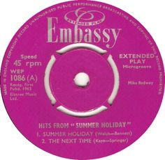 Hits From Summer Holiday (Summer Holiday / The Next Time) - Mike Redway (WEP1086) Jan '63