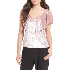 Women's Chelsea28 Velvet Ruffle Top ($59) ❤ liked on Polyvore featuring tops, sweaters, pink hush, holiday party tops, pink top, flutter-sleeve top, velvet top and frill top