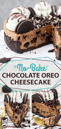 This mouthwatering No-Bake Chocolate Oreo Cheesecake is to die for! The Oreo crust is filled with no-bake chocolate cheesecake that's loaded with Oreo cookies. bites easy bites keto bites mini bites no bake bites no bake easy bites recipes No Bake Desserts, Just Desserts, Delicious Desserts, Dessert Recipes, Dessert Blog, Health Desserts, Food Cakes, Cupcake Cakes, Cupcakes