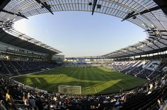 """Live Strong Sporting Park: You HAVE to go online, become a member, and get your free tickets. You will sit here (in """"the cauldron"""") with the craziest of all fans and chant/sing the ENTIRE time. By FAR the best sporting event expereince of my life. Mls Soccer, Soccer Stadium, Football Stadiums, Football Field, Kansas City Activities, Sporting Kansas City, Orlando City, Sports Marketing, Park Homes"""
