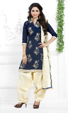 Navy Blue Chanderi Cotton Punjabi Suit 63557