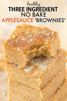 Healthy No Bake Applesauce Brownies with just THREE ingredients- So delicious, q. - Healthy No Bake Applesauce Brownies with just THREE ingredients- So delicious, quick, low in fat an - Healthy Sweets, Healthy Baking, Healthy Recipes, Healthy No Bake, Easy Healthy Desserts, Low Fat Vegan Recipes, Fat Free Recipes, Budget Desserts, Health Desserts
