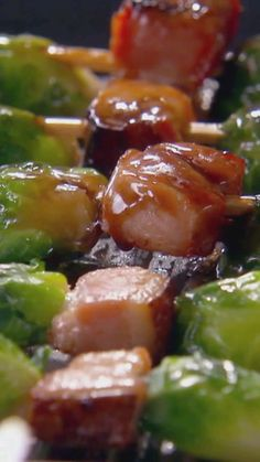 A sweet bourbon glaze is all you need to make the most mouthwatering Brussels Sprout Bacon Skewers.