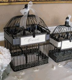 "Bird Cages  Black Metal set of 2  17  & 13""   -  great idea for wedding cards!"