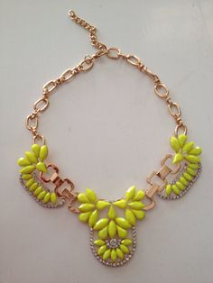 The Kaylie Statement Necklace-Gold Bubble Bib Statement Neon Yellow Crystal Necklace on Etsy, $18.00