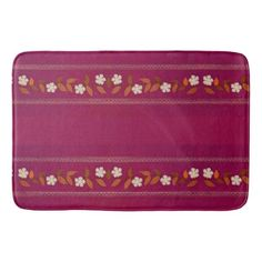 Vintage Magenta Embroidery Daisy Flowers Bath Mat - floral gifts flower flowers gift ideas
