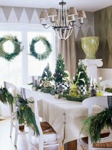 Buttons on the table cloth for a perfect fit! Got to remember this.  Dining Room with Green Christmas Decorating 225x300 Dining Room with Green Christmas Decorating
