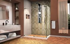 Reveal that decorative tile or wall design by mixing in a frameless with tuxedo finishes! Diy Interior, Interior Design, Dreamline Shower, Dream Shower, Bathroom Goals, Upcycled Home Decor, Shower Enclosure, Decorative Tile, Shower Doors