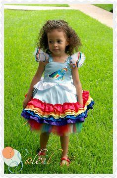 My Little Pony Rainbow Dash Twirl Dress My Little Pony Dress, My Little Pony Birthday, My Little Pony Party, Little Girl Dresses, Girls Dresses, Sesame Street Characters, Rainbow Birthday Party, Rainbow Dash, Little People
