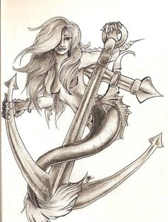 """"""" Mermaid With Anchor """" I'm liking her hair/face, not so much the positioning or tail/hands"""
