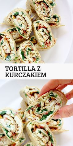 Roladki z tortilli z kurczakiem, bekonem i szpinakiem. Szybkie przekąski świąteczne w 15 minut. Food To Go, Love Food, Food And Drink, Helathy Food, Baked Chicken Recipes, Diy Food, Food Videos, Food Inspiration, Great Recipes