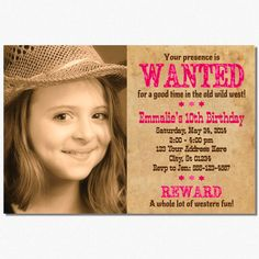 Cowgirl Birthday Invitation  Wanted or Western by PuggyPrints