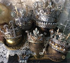 """Gilded Relic's ~ Series"" by Debby Anderson is now available for purchase! 3 disc DVD Collection: ~ ""Graceful Abundance"" ~ ""A Stitch in Time"" ~ ""Crowned in Glory"" Royal Crowns, Royal Jewels, Tiaras And Crowns, Crown Jewels, Meas Vintage, Crown Decor, Crown Art, Diy Crown, Vintage Accessoires"