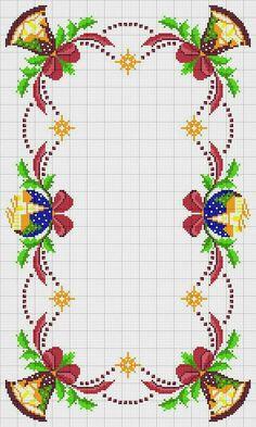 Bordados navideños Cross Stitch Borders, Modern Cross Stitch Patterns, Cross Stitch Charts, Cross Stitching, Cross Stitch Embroidery, Handmade Crafts, Diy And Crafts, Blackwork Patterns, Christmas Embroidery