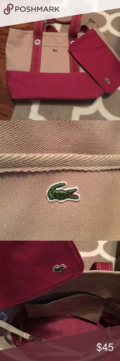 Lacoste bag Cute lacoste bag. Used only once. Comes with little coin bag as well. Lacoste Bags