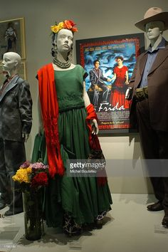 "Costumes of the film ""Frida"" by costume designer Julie Weiss, which were nominated for Best Costume Design, are seen at the Fashion Institute of Design & Merchandising/FIDM Exhibit on February Get premium, high resolution news photos at Getty Images Dress Up Costumes, Cool Costumes, Halloween Costumes, Sonia Delaunay, Freida Kahlo Costume, Salma Hayek Frida, Mexico Costume, Frida E Diego, Frida Kahlo Exhibit"