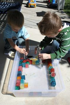 building w/ice cubes, lesson on ice