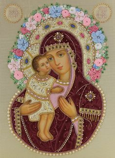 Hand Painted Icon of the Mother of God of Zhirovichi in a textile oklad - St…