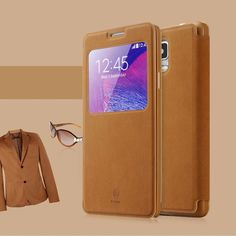 Baseus Brand View Window Leather Case Cover For Samsung Galaxy Note 4