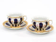 """Set tazze da caffè c/piatto, Forma """"X-Form"""", Fiorellini sparsi, policromi, invetr.blu royal, bordo oro bronzo legg."""