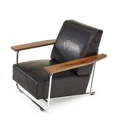 Richard Neutra; Chromed Tubular Steel, Oak and Leather Easy Chair Designed for the Lovell Residence, 1929. Produced in 2014.