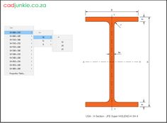 Steel Sections: USA: JFE Super HISLEND-H (4) CAD Format: AutoCAD 2013  Block Type: 2D Dynamic (1x77 Lookup Tables)  Units: mm  Description:  A dynamic block made using the ANSI Tables.  The block is parametric and uses lookup tables to produce 77 different blocks. The block can be edited to user dimensions with the standard AutoCAD Properties editor Steel Properties, Cad Blocks, Autocad, Editor, 2d, Tables, The Unit, Type, Mesas