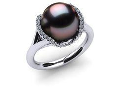 18K White Gold Diamond & Aubergine Tahitian Pearl Split Shank Cradle Ring