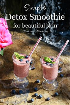 Simple Detox Smoothie recipe for Beautiful Skin from GlamorousBite.com will make you glow from the inside out with all the beneficial Vitamins and antioxidants from fresh fruits! #detox #smoothie #fruit