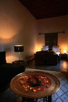 A spacious deluxe room at Le Nid, a luxury hotel in the heart of the medina. Marrakech, Morocco