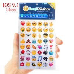 2016 새로운 귀여운 1 시트 ios 9.1 1 시트 재미 미소 48 이모티콘 스티커 apple iphone 업그레이드 스티커 노트북 메시지