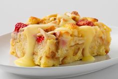 A French bread baguette and vanilla pudding is sweetened with  melted white chocolate morsels and juicy raspberries in this easy-to-make dessert.