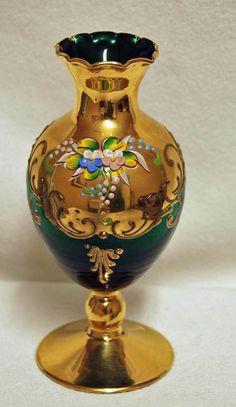 "Beautiful Green Emerald BOHEMIAN CZECH Victorian Hand Painted Vase - 6"" Tall"