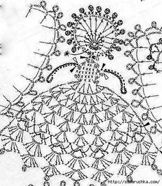 crochet doll made Crochet Dollies, Crochet Angels, Crochet Girls, Crochet Home, Irish Crochet, Crochet Flowers, Crochet Diagram, Crochet Chart, Thread Crochet