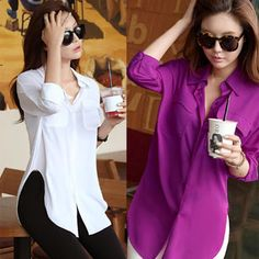 New Fashion Women Long Sleeve Chiffon Shirt Turn-down Collar Loose Pocket Blouse Casual Tops, Casual Shirts, Fashion Brand, Fashion Women, Chiffon Shirt, Clothes For Women, Ladies Outfits, Long Sleeve, Purple