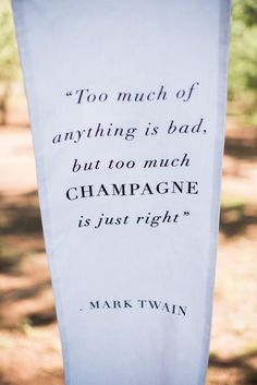 """Too much of anything is bad, but too much Champagne is just right."" - Quote by the American writer F. Scott Fitzgerald (1896-1940)  - NOT BY MARK TWAIN - Heather and Matthew's Champagne-inspired wedding by CES Wedding & Events (Planner),  The Idea Emporium (Event Branding & Collateral) + Shannon Rosan (Photography) - via Grey likes weddings #fscottfitzgerald"