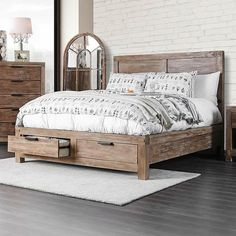 Inspired by the great outdoors, the Furniture of America Perrie Storage Bed is the perfect focal point for a rustic bedroom. The solid wood bed. Rustic Bedroom Furniture, Rustic Bedding, Bed Furniture, Bedroom Decor, Rustic Bedrooms, Farmhouse Bedroom Furniture, Western Furniture, Furniture Shopping, Furniture Layout