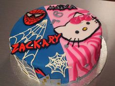 Spider-man and hello kitty cake Birthday Bash, Birthday Cakes, Birthday Ideas, Hello Kitty Cake, Sweet Ideas, My Girl, Spider, Cupcake, Creations