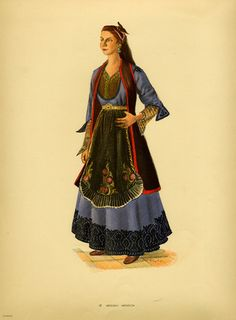 Traditional Greek costume from Metsovo, Thessaly. All rights reserved. Ancient Greek Costumes, Greek Dancing, Greek Traditional Dress, Greek Dress, Greek Art, Greek Clothing, Pli, Folk Costume, Dress Codes