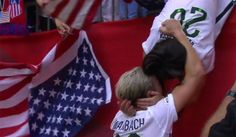 Abby Wambach sprinted to find her wife in the stands after winning World Cup Abby Wambach Wife  #AbbyWambachWife