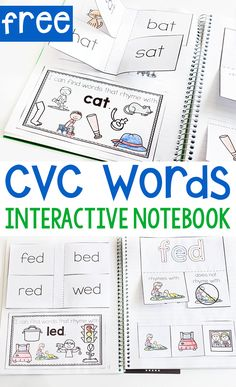 Grab their attention with interactive notebooks! Kindergarten rhyming interactive to use with Five Star® Interactive Notebooks. Try these CVC word interactive notebook activities today! Word Family Activities, Rhyming Activities, Kindergarten Activities, Learning Activities, Preschool Printables, Learning Tools, Preschool Activities, Free Printables, Interactive Notebooks Kindergarten