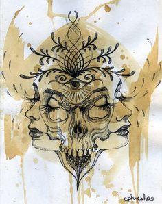 dualité binaire petit art print art du crâne taille par PHRESHA