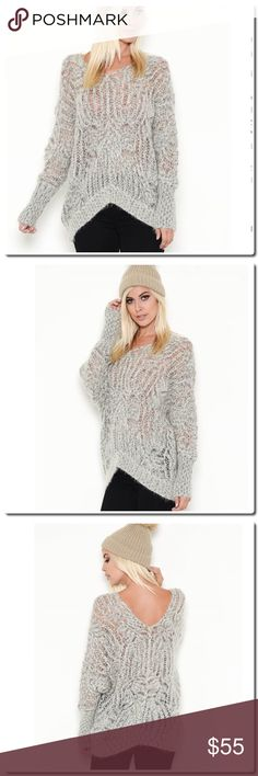 """Coming soon V- Back Loose Knit Sweater FABRIC: 65% WOOL / 35% ACRYLIC  ONE SIZE ONLY RELAX FIT SEE THROUGH DETAIL V-NECKLINE MODEL IS 5`10``, BUST 32""""B, WAIST 24"""", HIPS 34"""" AND WEARING A FREE SIZE Sweaters"""